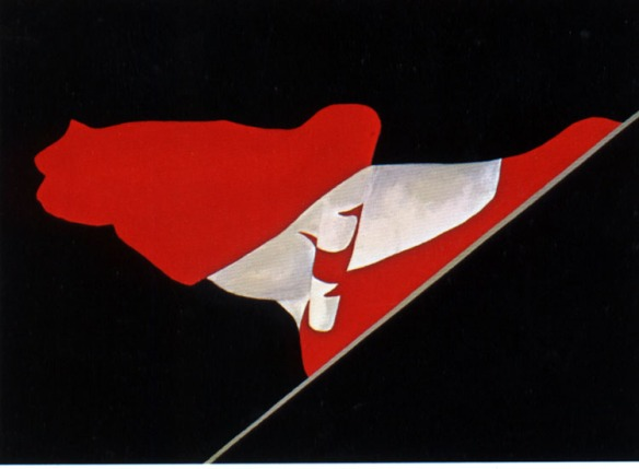 Charles Pachter, Flag # 43, 1981, acrylic on canvas (source: https://www.msu.edu/course/iah/211c/skeen/Flag43.html)