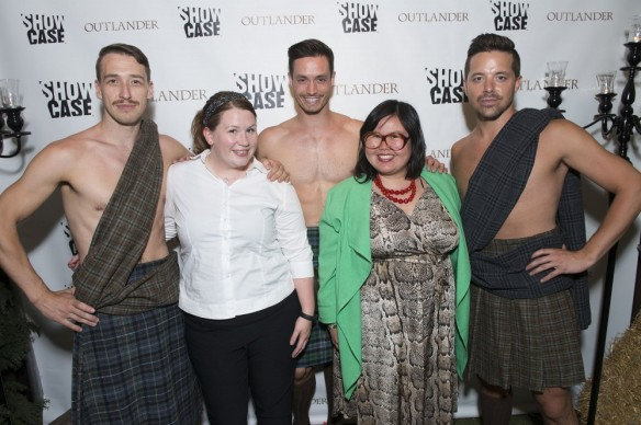 Lindsey and I with the kilted men. Photograph courtesy of Showcase and Sony Pictures Television.