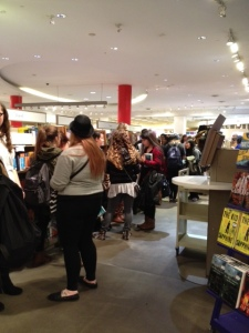 Just a small section of the long line awaiting Anna's book signing at Indigo Eaton Centre
