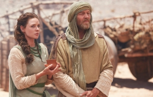 Rebecca Ferguson as Dinah and Iain Glen as Jacob. Shot on location in Morocco, May 2014. Image courtesy of Showcase.