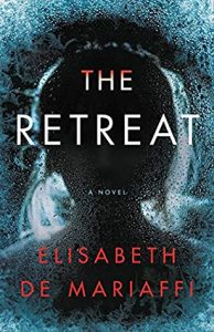 Book cover of The Retreat: it's dark blue with a front-facing silhouette of a woman with her hair surrounded by light. The book's title is in white all-capps, adn the author's name is in red all-caps.